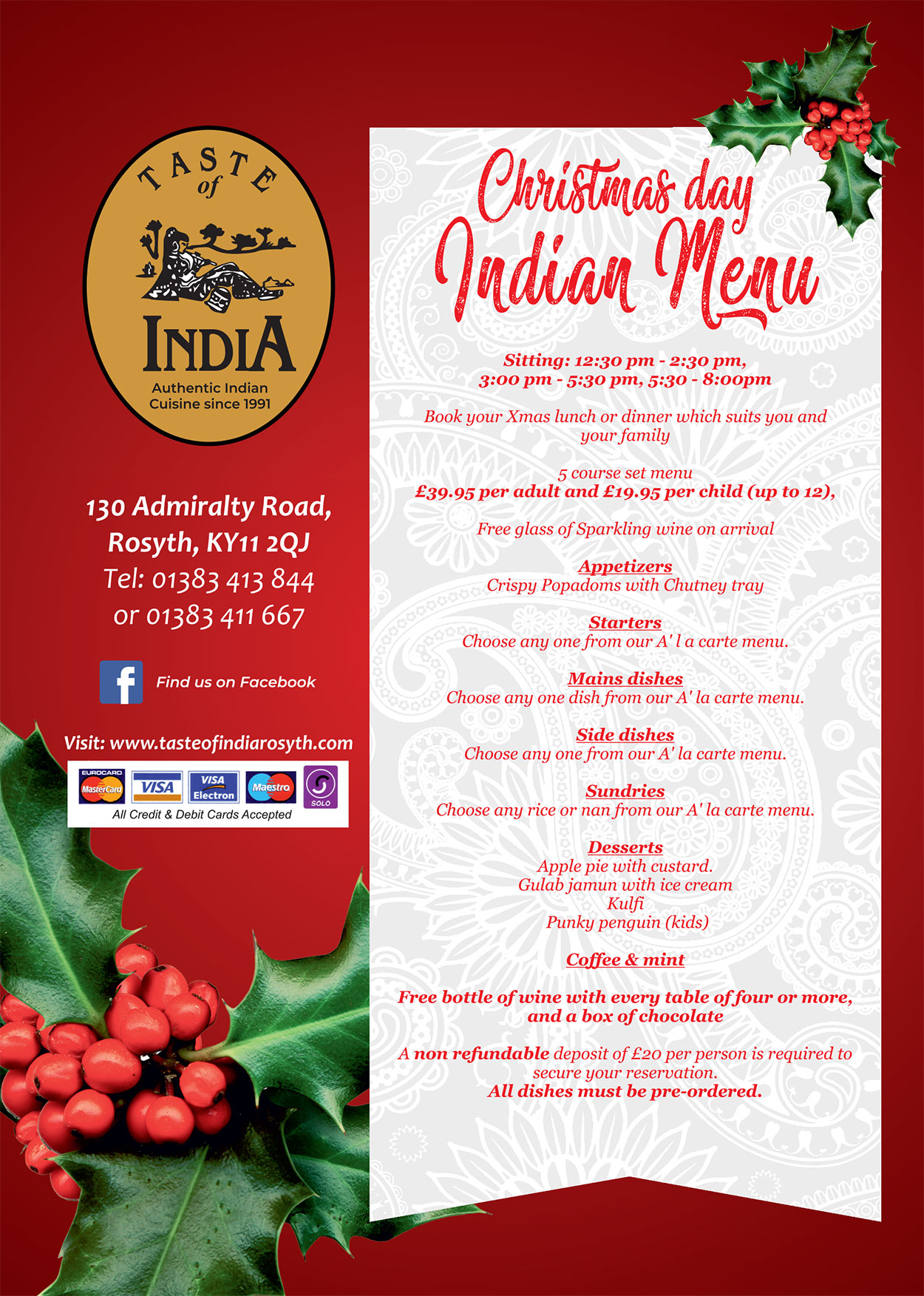 Christmas Indian Menu 2019